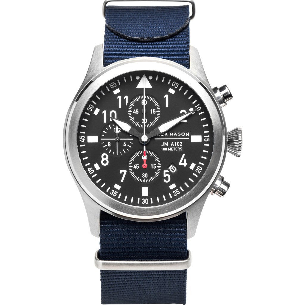 Jack Mason Aviator Black Chronograph Stainless Steel Watch | Navy Nylon JM-A102-022