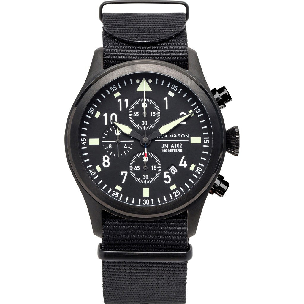 Jack Mason Aviator Black Chronograph Black PVD Watch | Black Nylon JM-A102-027