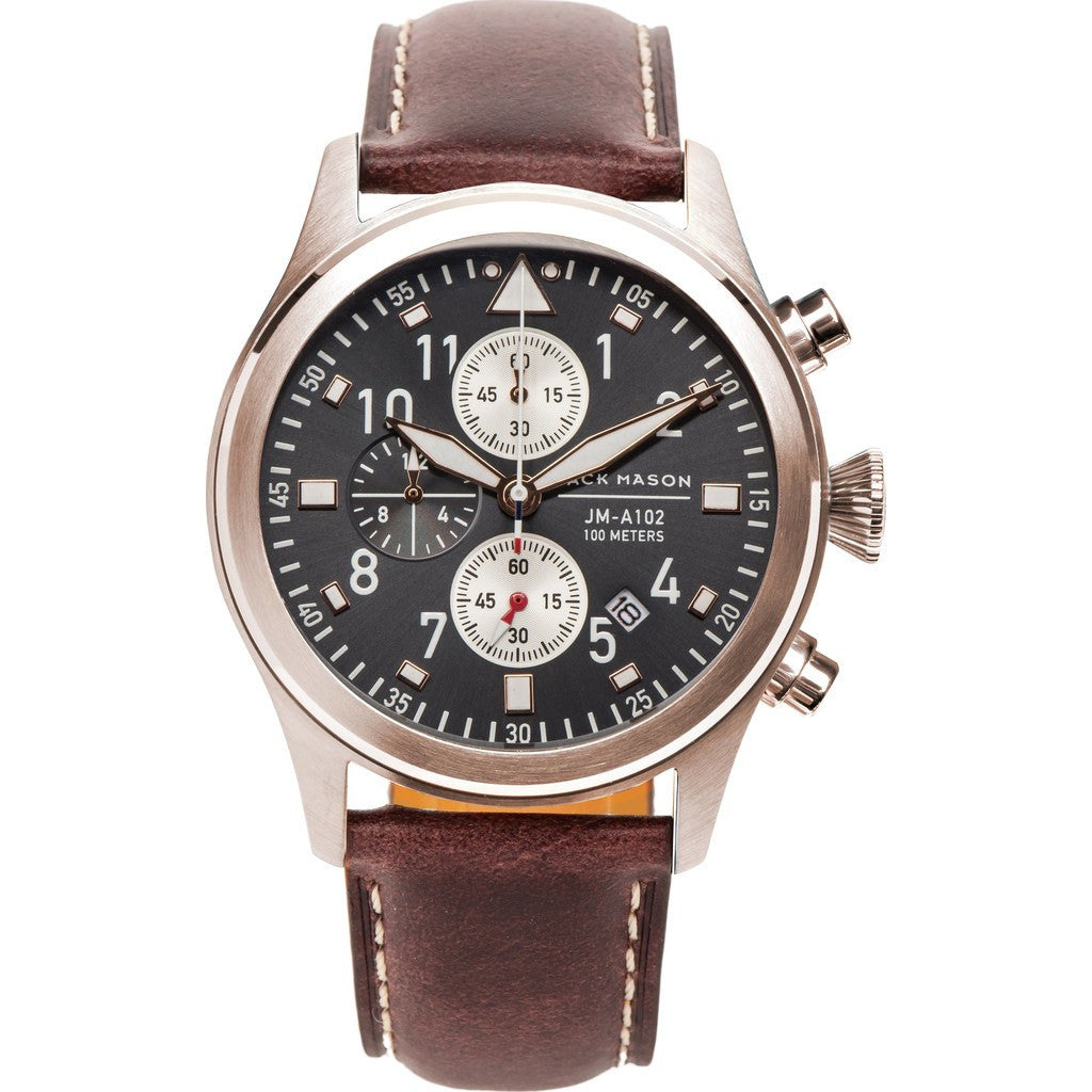 Jack Mason Aviator JM-A102-108 Chronograph Watch | Brown Leather JM-A102-108