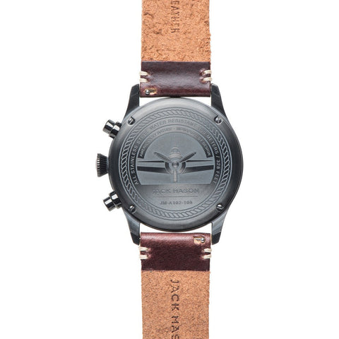 Jack Mason Aviator Black Chronograph Black PVD Watch | Dark Brown Leather JM-A102-109