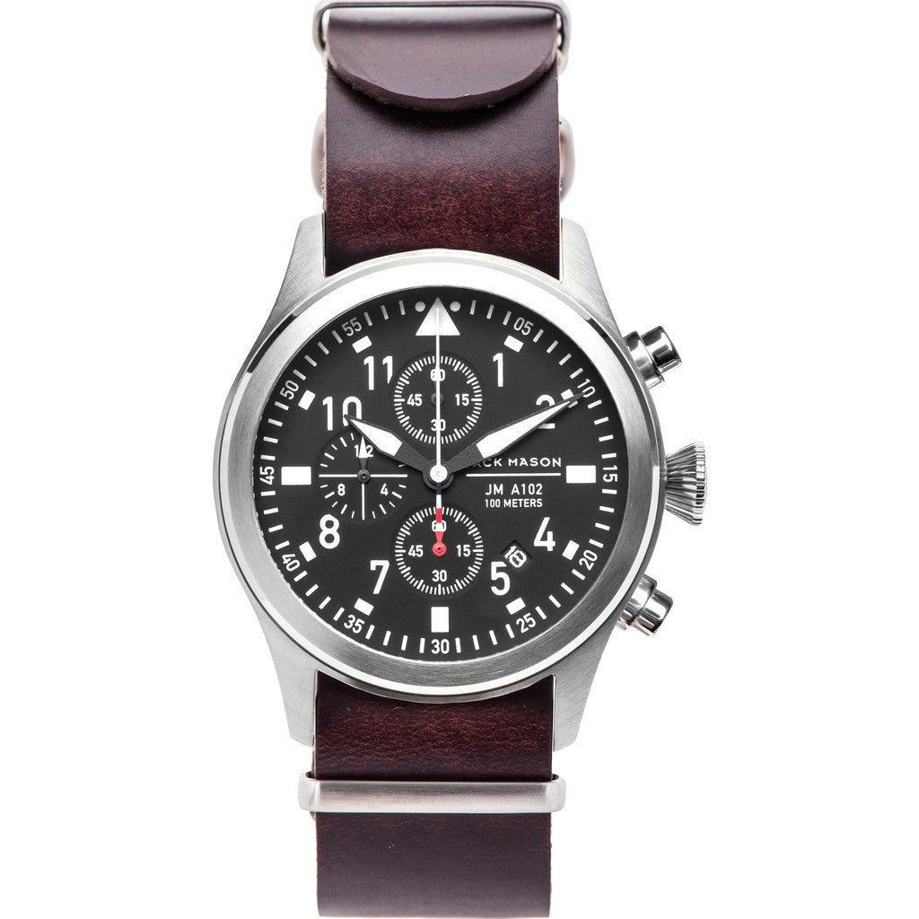 Jack Mason Aviator Black Chronograph Stainless Steel Watch | Brown Leather Nato JM-A102-110