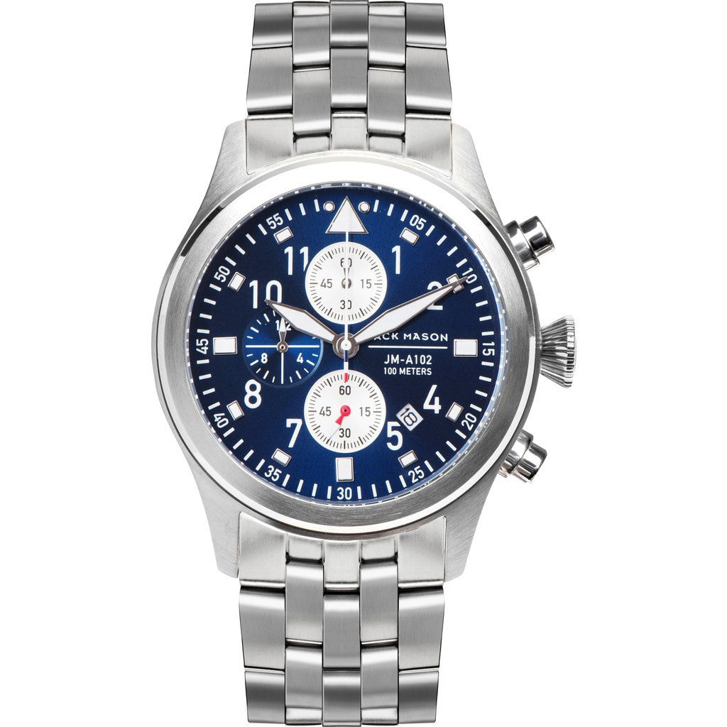 Jack Mason Aviator Navy Chronograph Stainless Steel Watch | Steel JM-A102-111
