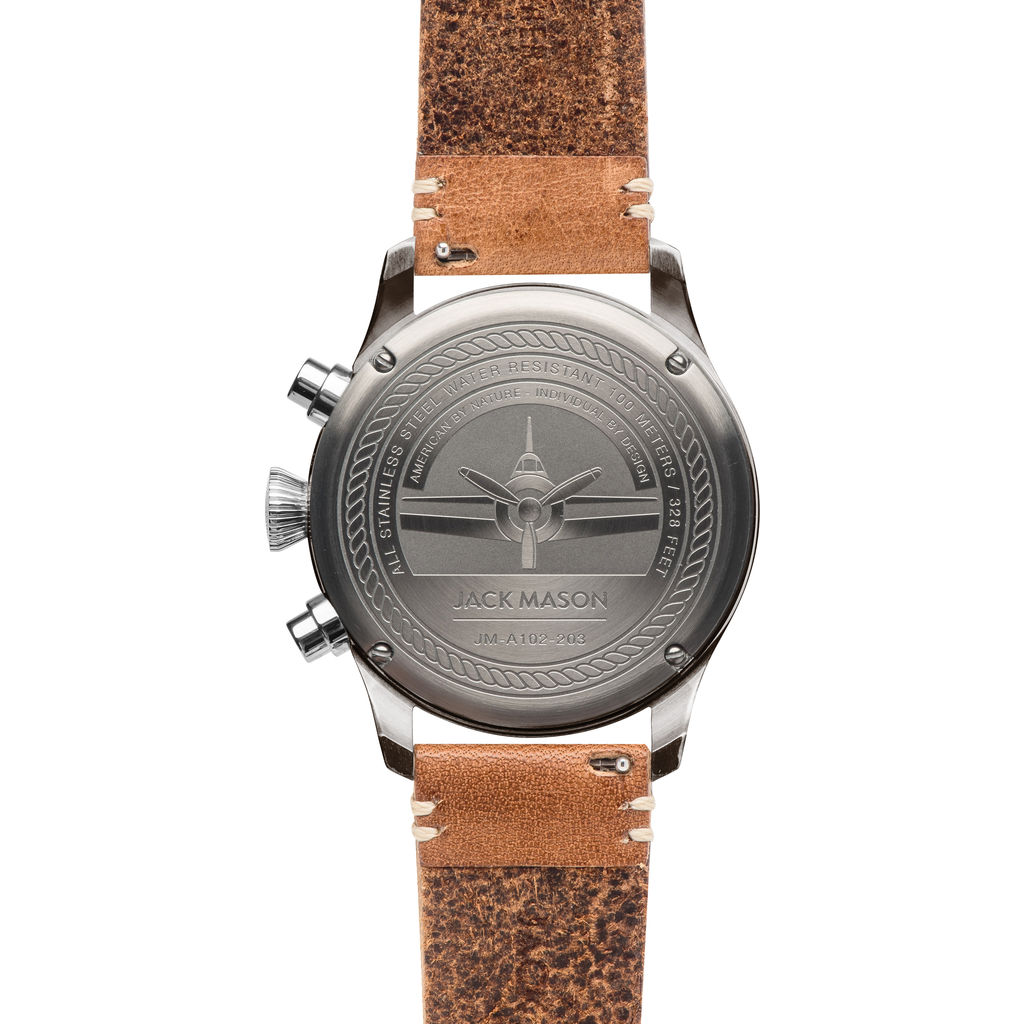 Jack Mason Gray Aviator Chronograph Gunmetal Watch 42mm | Tan Leather JM-A102-203