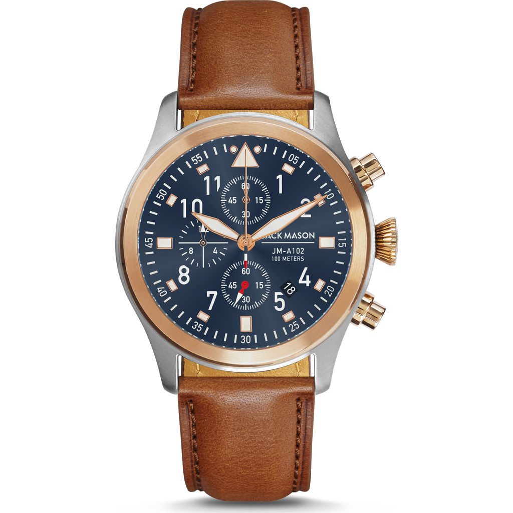 Jack Mason Blue Aviator Chrono Two Tone Watch | Tan Leather JM-A102-402