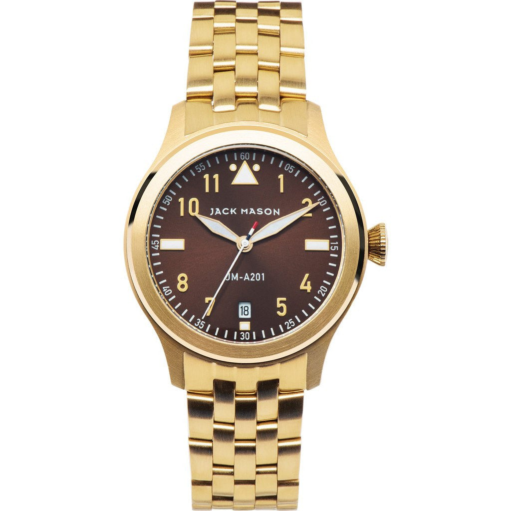 Jack Mason Aviator JM-A201-008 3-Hand Watch | Gold Steel JM-A201-008