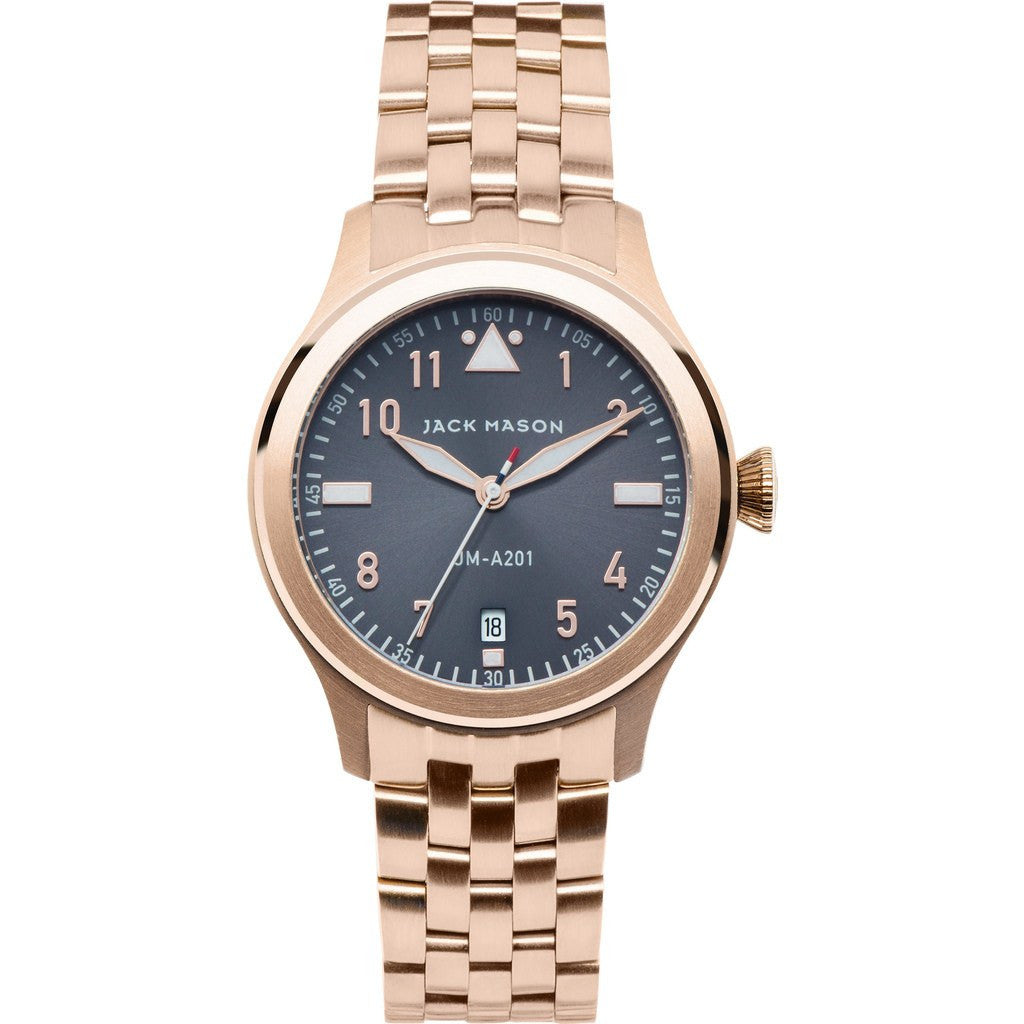 Jack Mason Aviator JM-A201-009 3-Hand Watch | Rose Gold Steel JM-A201-009