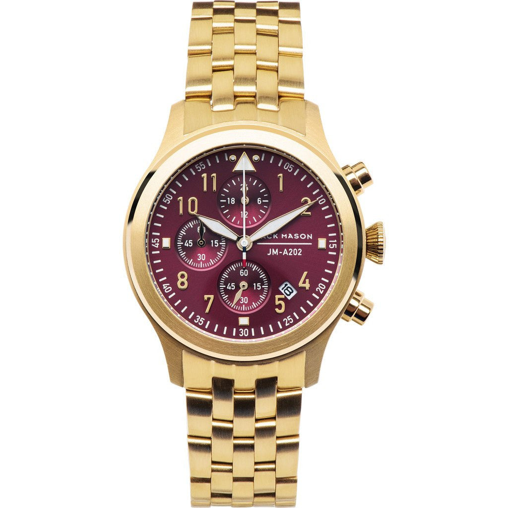 Jack Mason Aviator JM-A202-006 Chronograph Watch | Gold Steel JM-A202-006