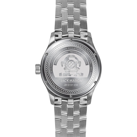 Jack Mason White Diver 3-Hand Stainless Steel Watch| Steel JM-D101-016