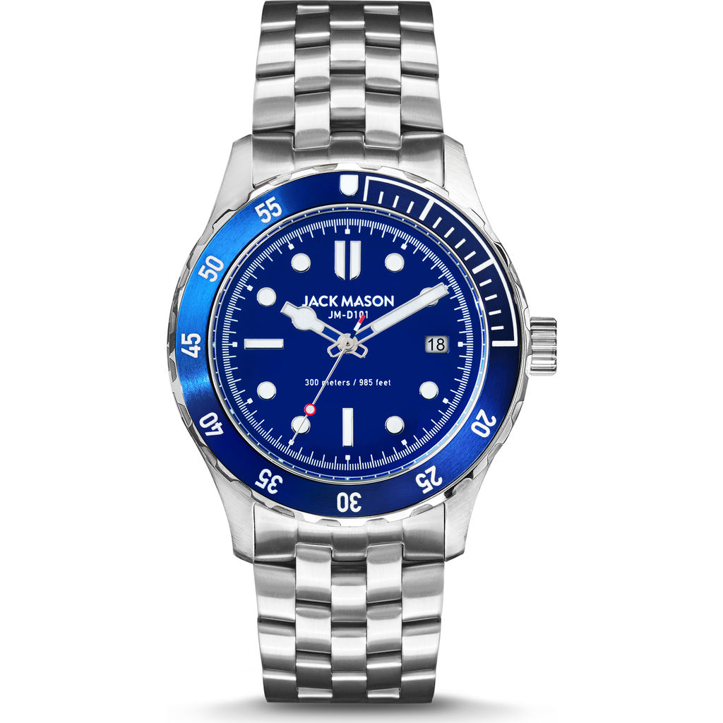 Jack Mason Cobalt Diver 3-Hand Stainless Steel Watch | Steel JM-D101-017