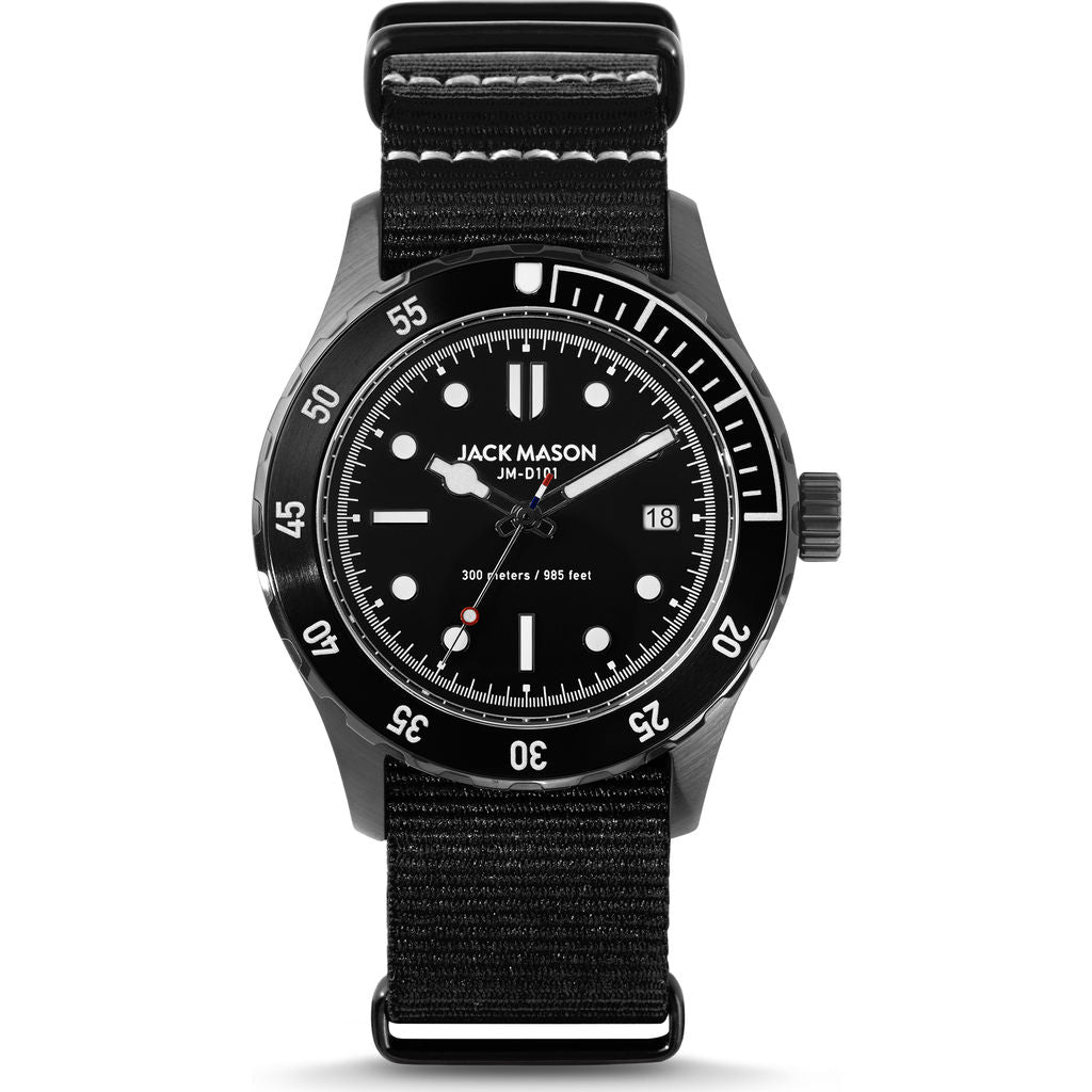 Jack Mason Black Diver 3-Hand Stainless Steel Watch | Black Nylon JM-D101-019