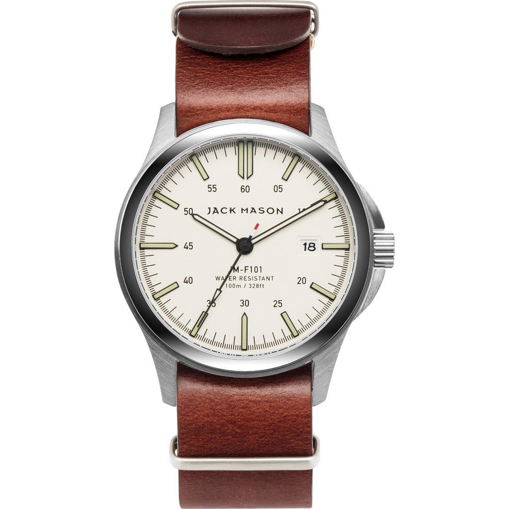 Jack Mason Field JM-F101-005 3-Hand Watch | Brown Leather Nato JM-F101-005