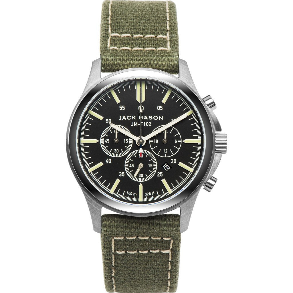 Jack Mason Field JM-F102-012 Chronograph Watch | Green Canvas JM-F102-012