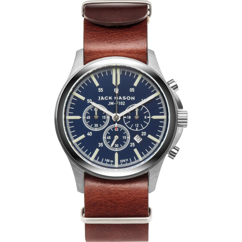 Jack Mason Field JM-F102-015 Chronograph Watch | Brown Leather Nato JM-F102-015