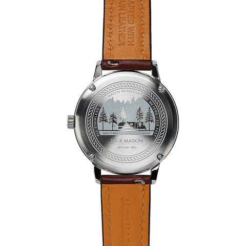 Jack Mason Navy Field Sub Second Stainless Steel Watch | Brown Leather JM-F401-002