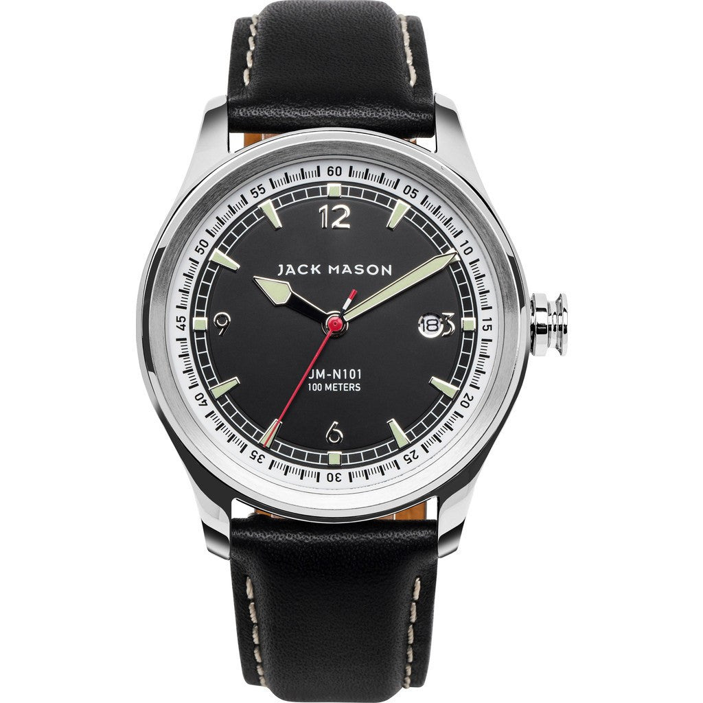 Jack Mason Nautical Black 3-Hand Stainless Steel Watch | Black Leather JM-N101-002