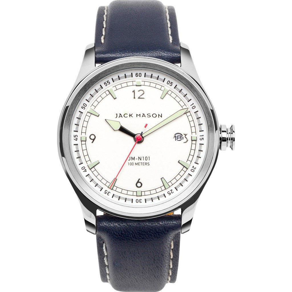 Jack Mason Nautical White 3-Hand Stainless Steel Watch | Navy Leather JM-N101-003