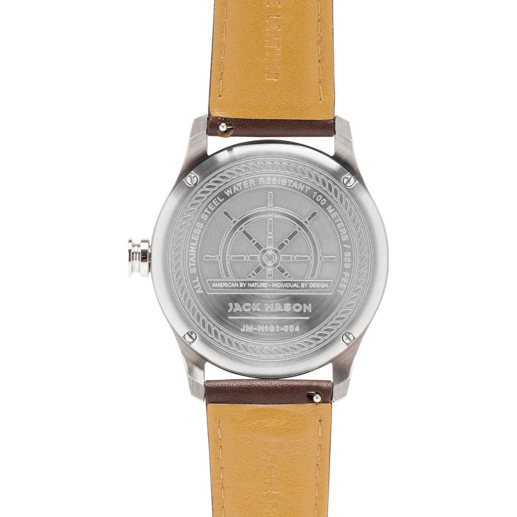 Jack Mason Nautical White 3-Hand Stainless Steel Watch | Brown Leather JM-N101-004