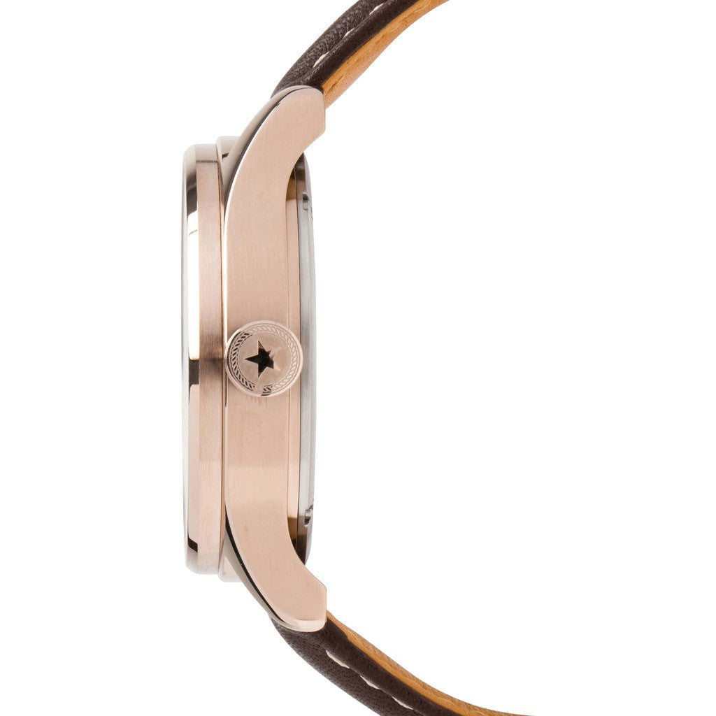 Jack Mason Nautical Navy 3-Hand Rose Gold Tone Watch | Brown Leather JM-N101-006