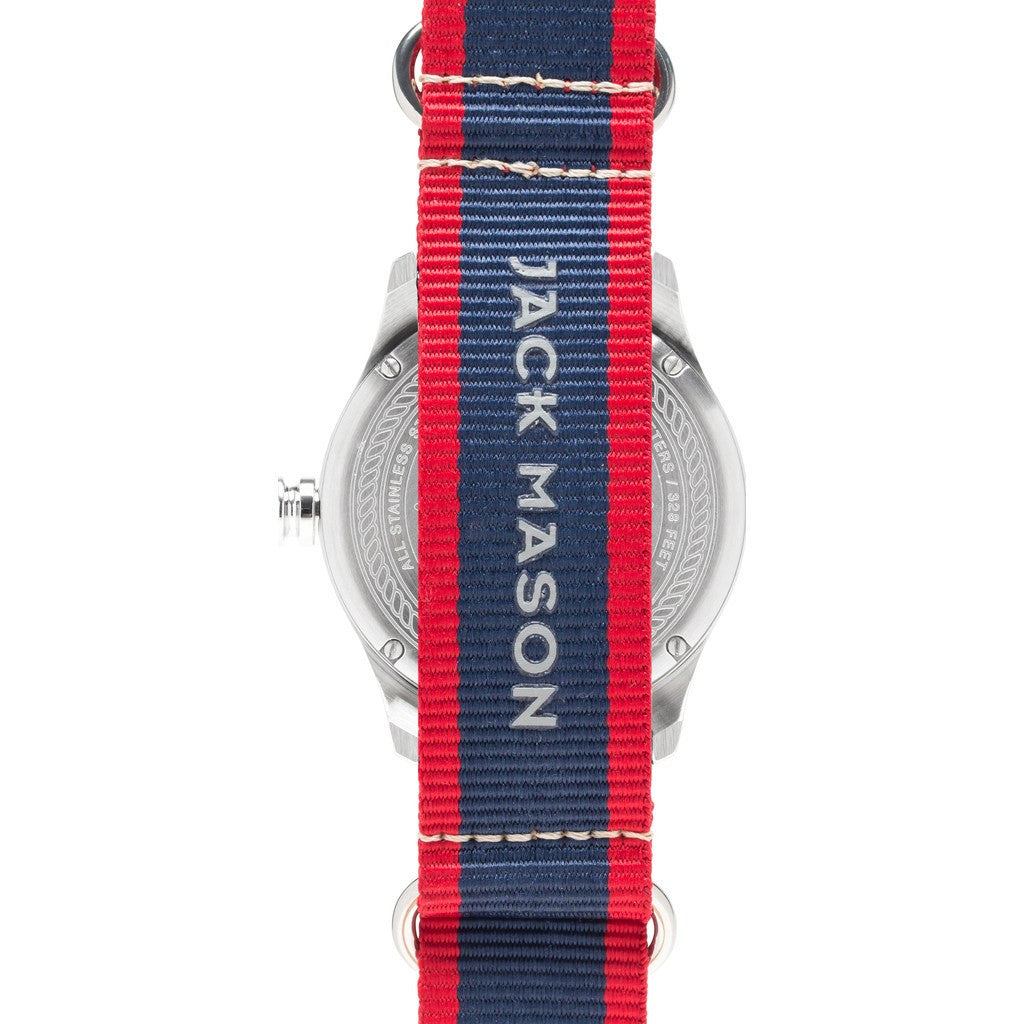 Jack Mason Nautical White 3-Hand Stainless Steel Watch | Striped Nylon JM-N101-010