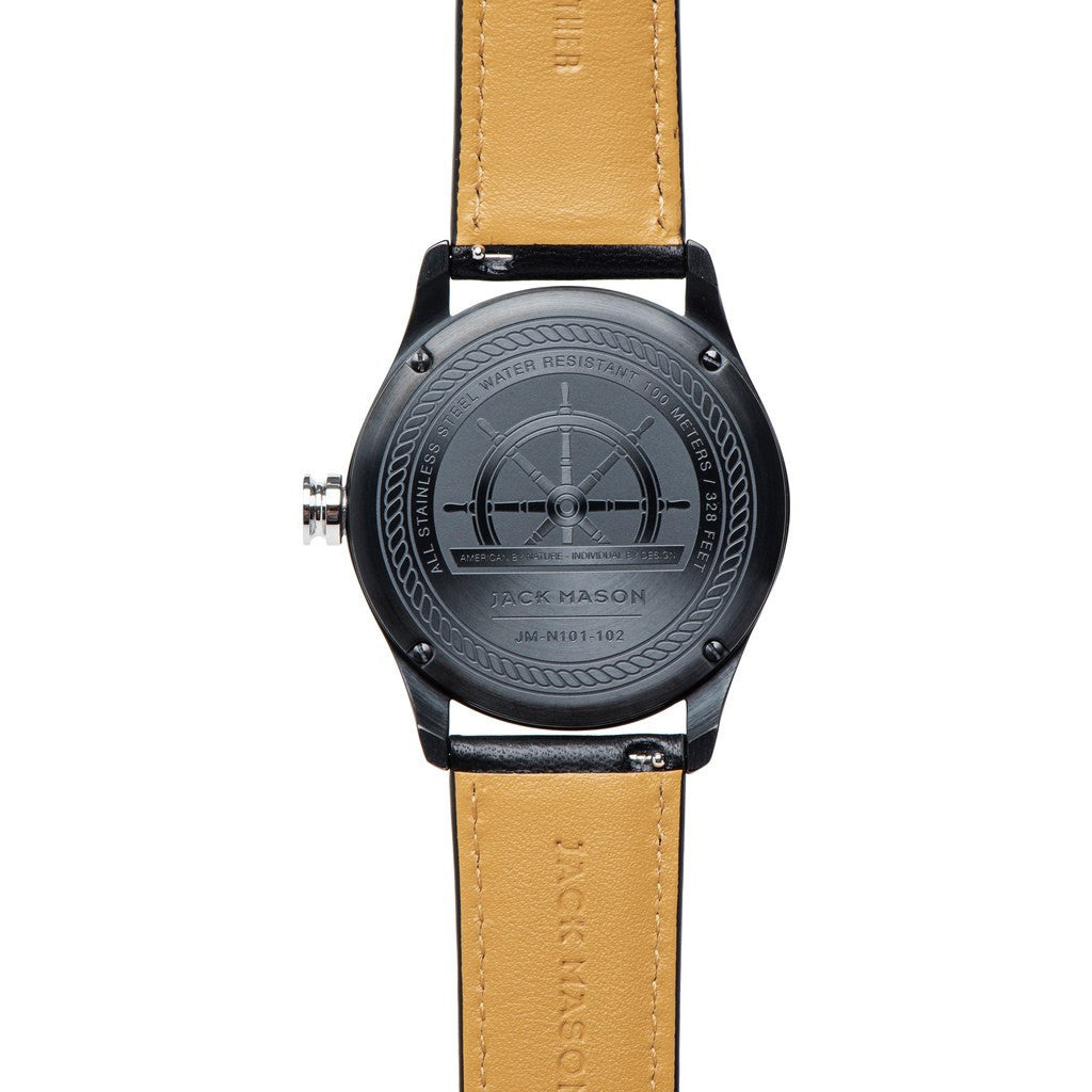 Jack Mason Nautical Black 3-Hand Black PVD Watch | Black Leather JM-N101-102