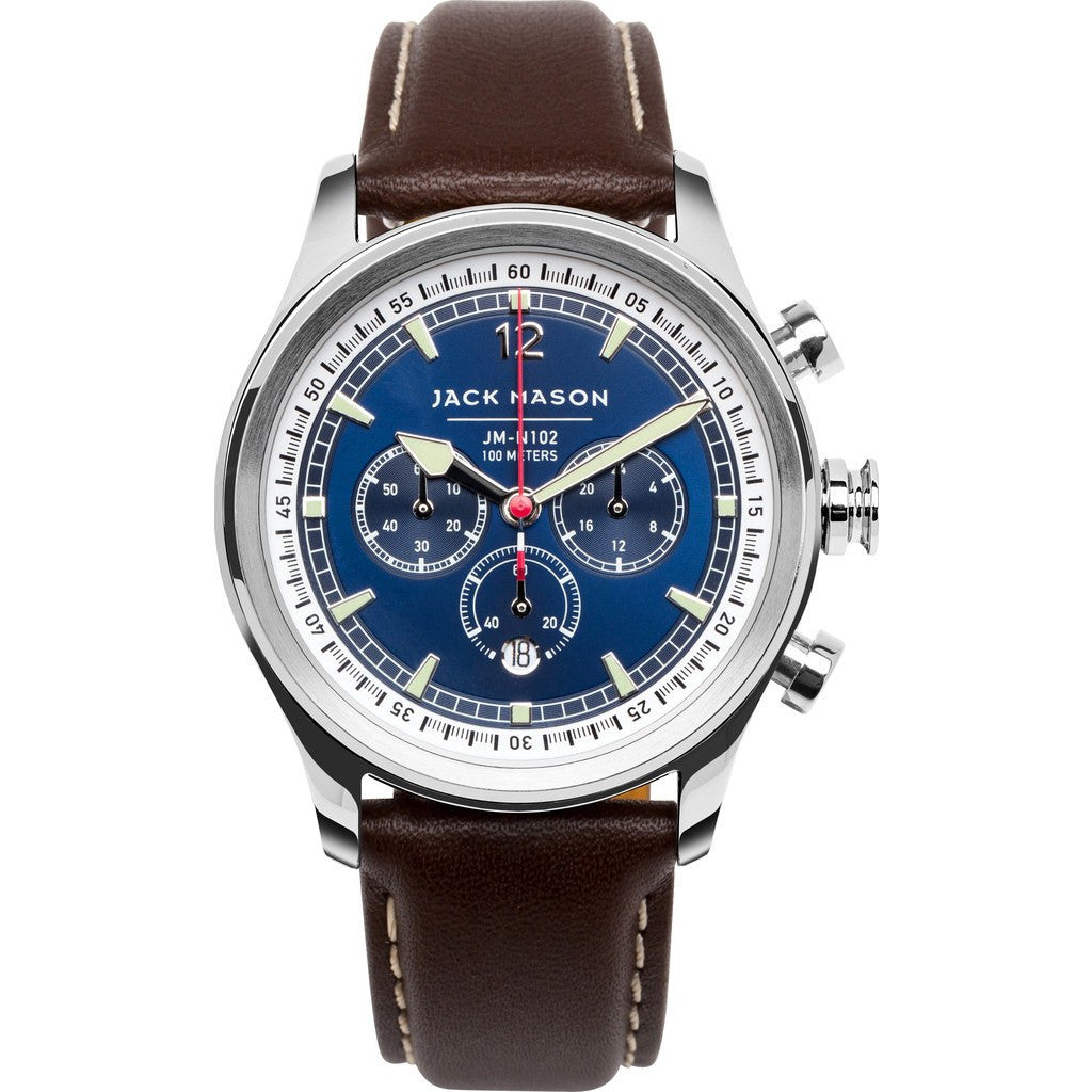 Jack Mason Nautical Navy Chronograph Stainless Steel Watch | Brown Leather JM-N102-015
