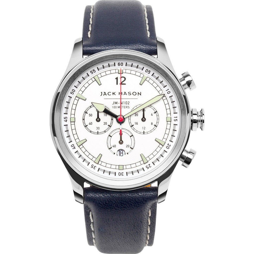 Jack Mason Nautical White Chronograph Stainless Steel Watch | Navy Leather JM-N102-017