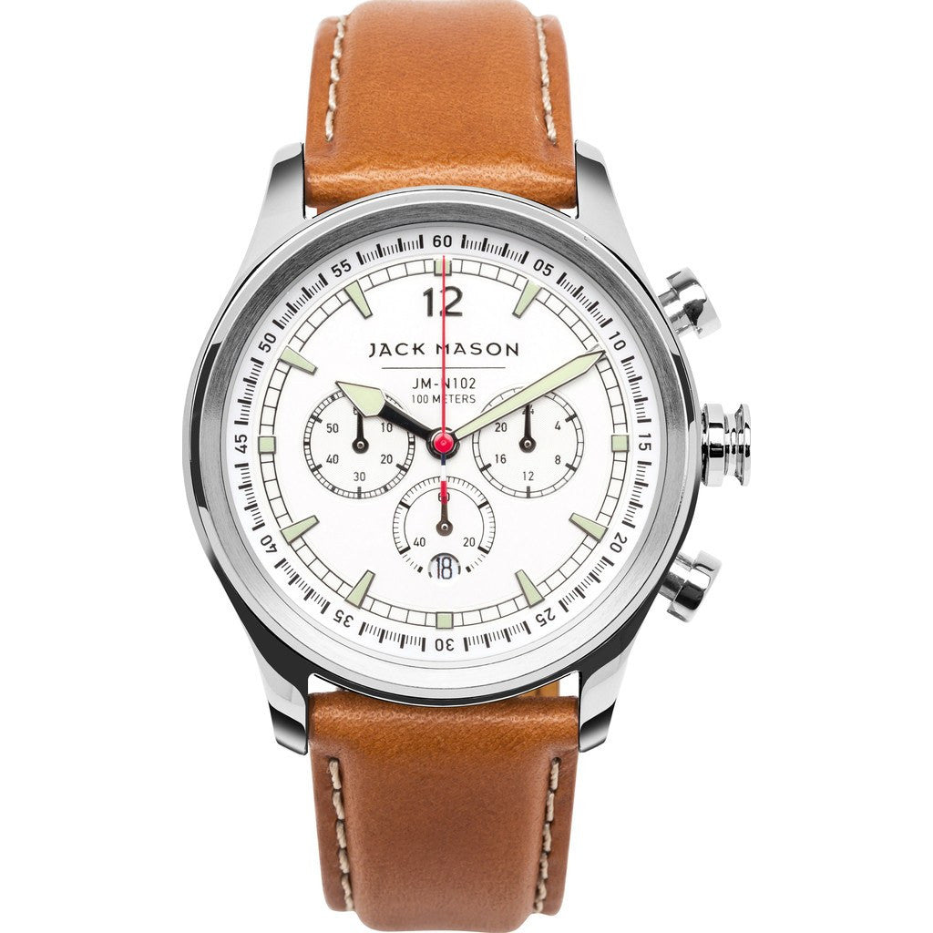 Jack Mason Nautical White Chronograph Stainless Steel Watch | Tan Leather JM-N102-018
