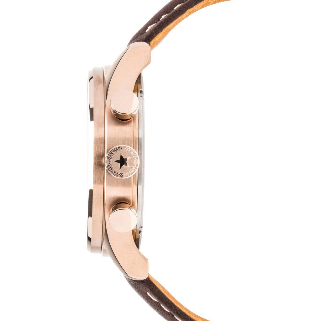 Jack Mason Nautical Navy Chronograph Rose Gold Tone Watch | Brown Leather JM-N102-021