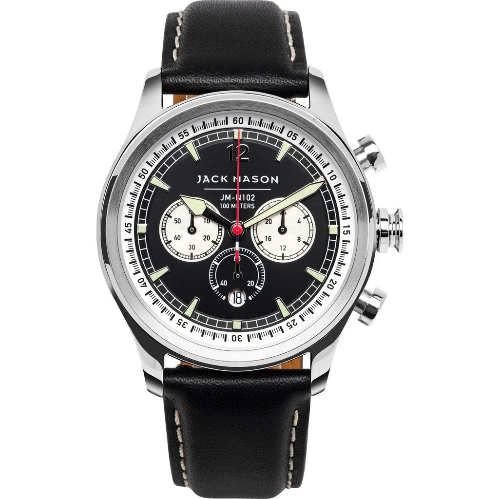 Jack Mason Nautical Black Chronograph Stainless Steel Watch | Black Leather JM-N102-023