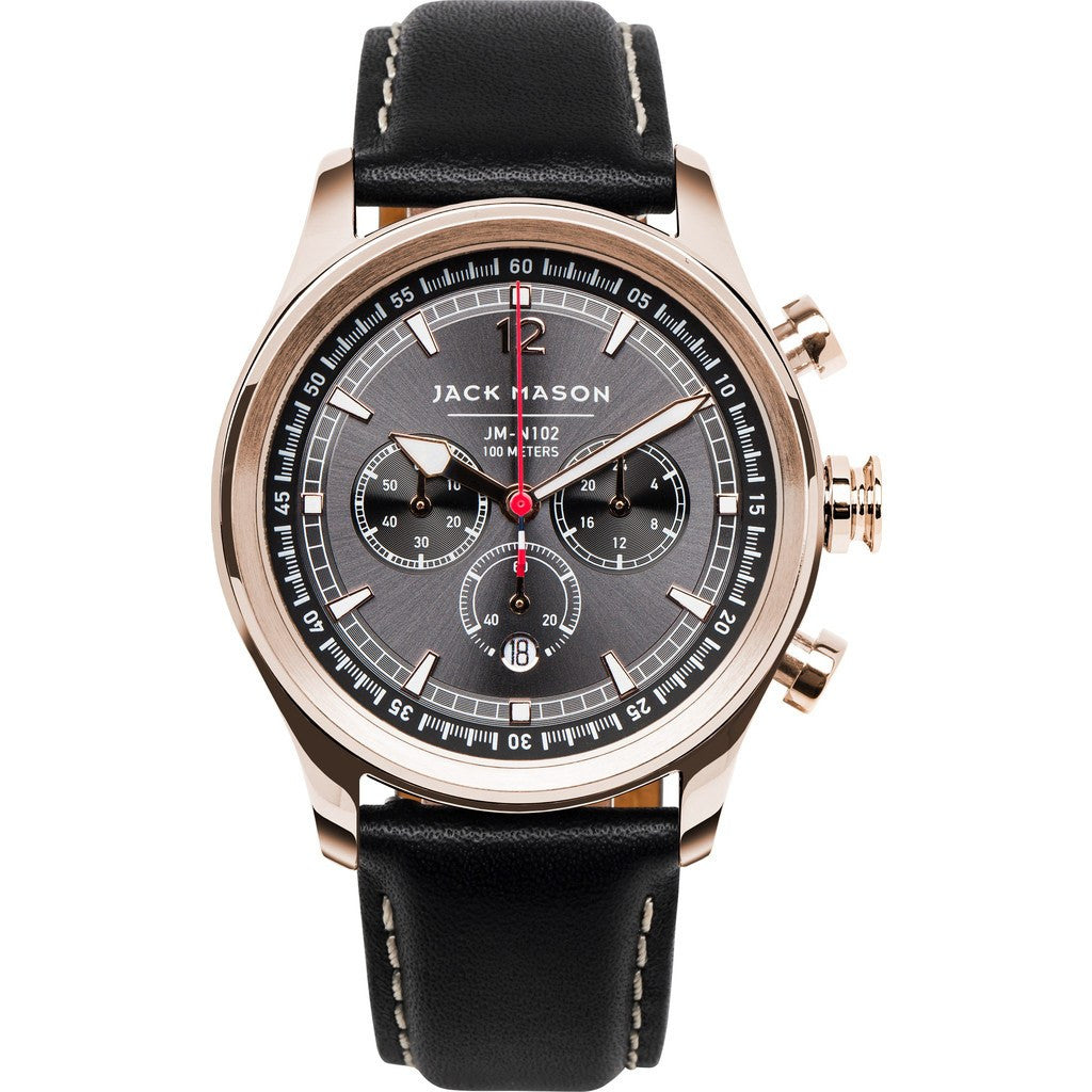 Jack Mason Nautical Grey Chronograph Rose Gold Tone Watch | Black Leather JM-N102-025
