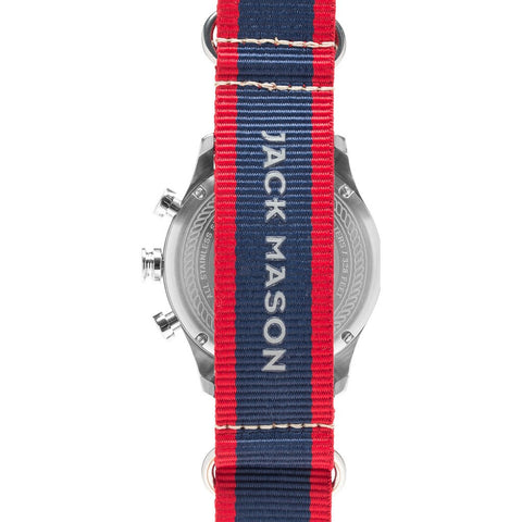 Jack Mason Nautical Navy Chronograph Stainless Steel Watch | Striped Nylon JM-N102-029