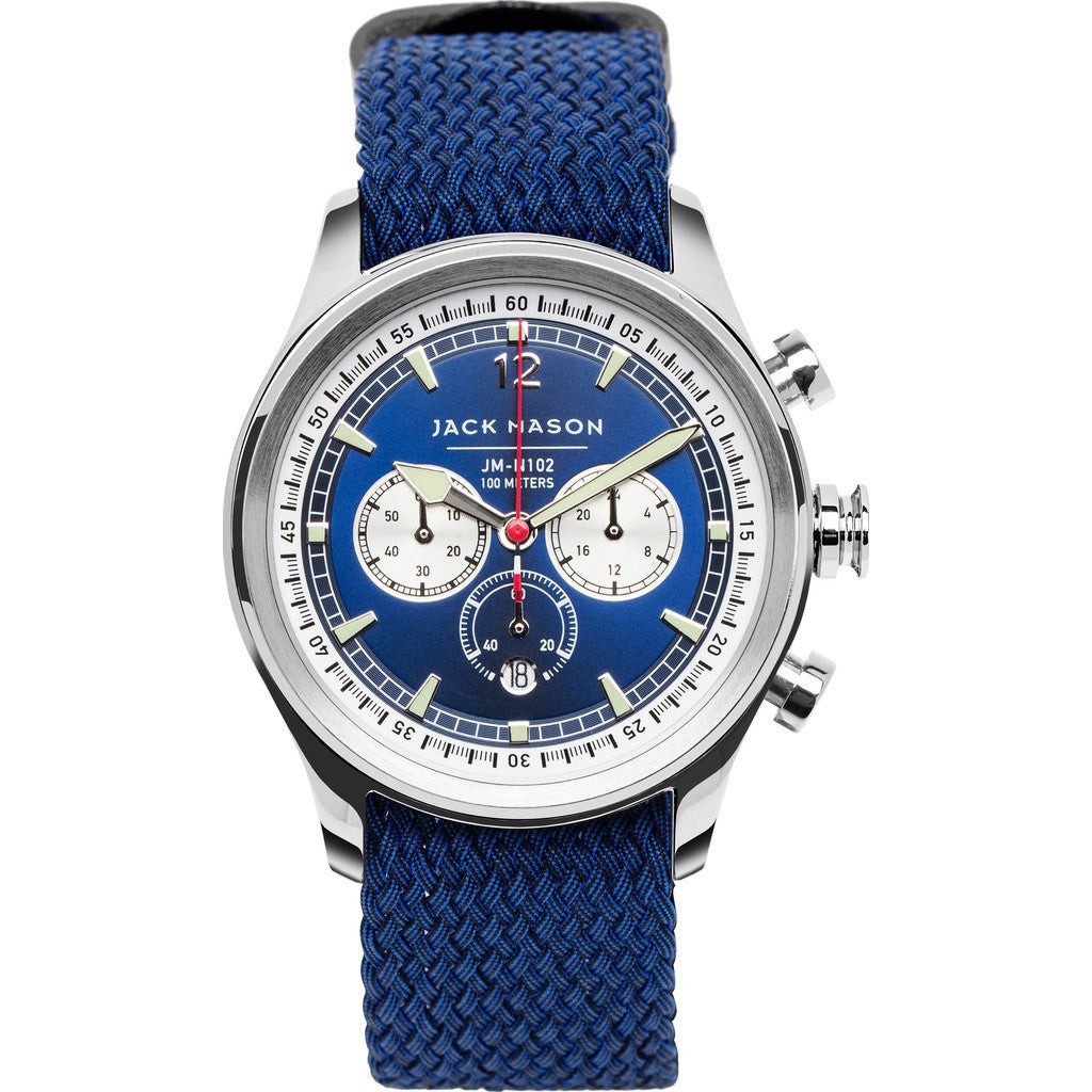 Jack Mason Nautical Navy Chronograph Stainless Steel Watch | Navy Perlon JM-N102-035