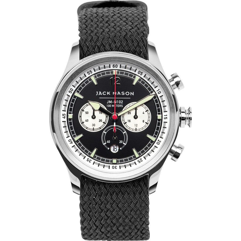 Jack Mason Nautical Black Chronograph Stainless Steel Watch | Black Perlon JM-N102-036