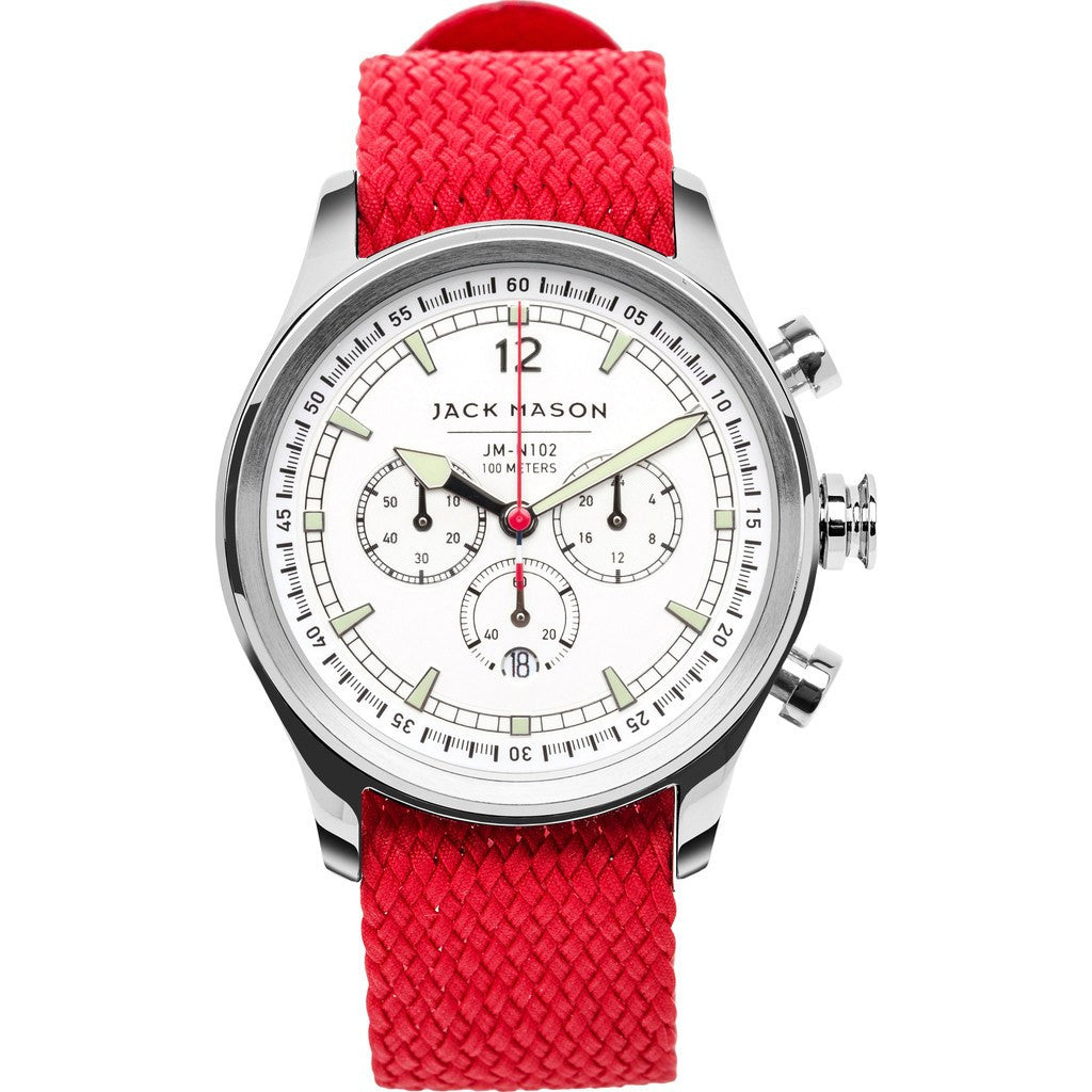 Jack Mason Nautical White Chronograph Stainless Steel Watch | Red Perlon JM-N102-037