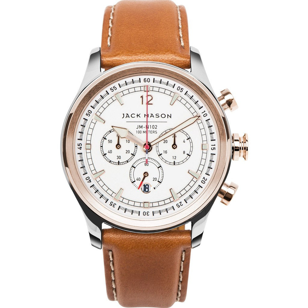 Jack Mason Nautical White Chronograph Dual Tone Watch | Camel Leather JM-N102-104