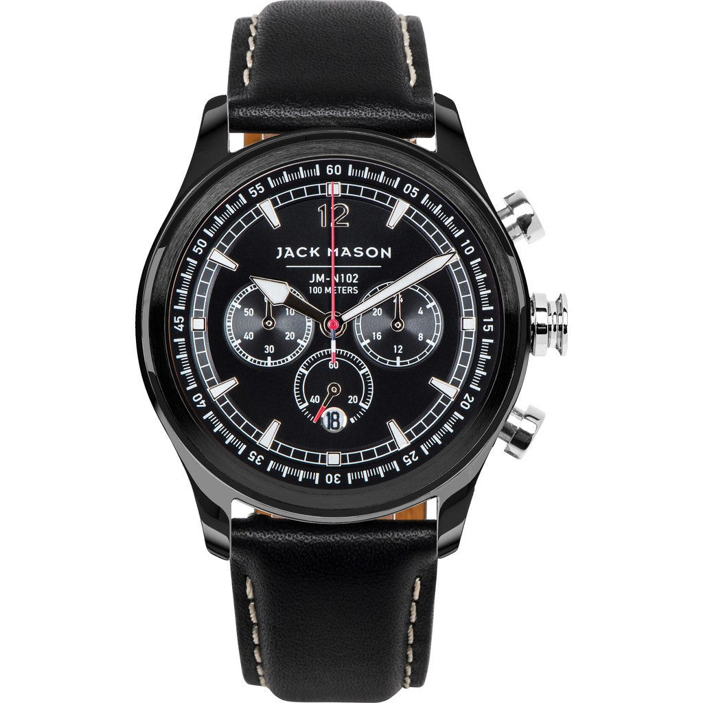 Jack Mason Nautical Black Chronograph Black PVD Watch | Black Leather JM-N102-106