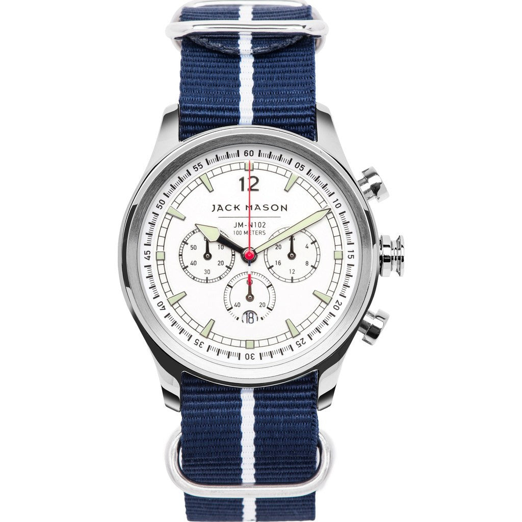 Jack Mason Nautical White Chronograph Stainless Steel Watch | Blue Nylon JM-N102-107