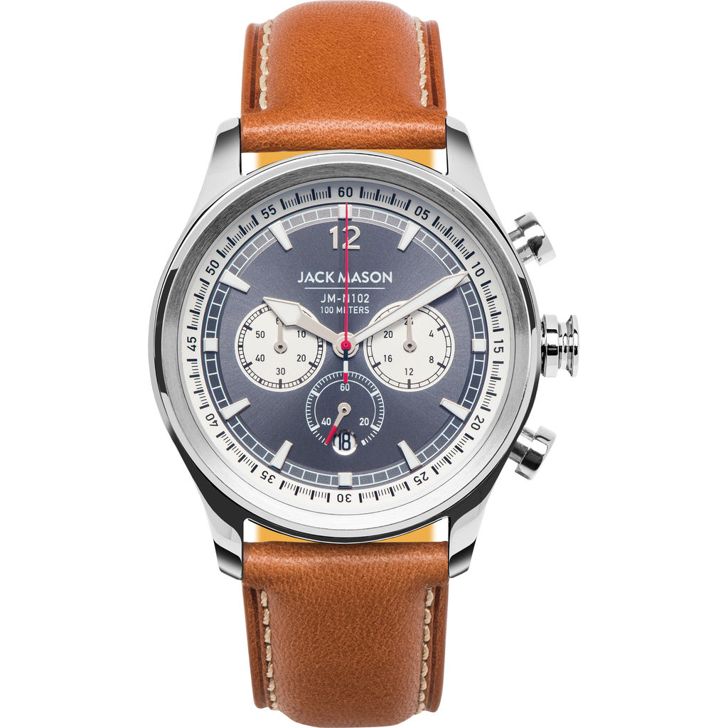Jack Mason Gray/White Nautical Chronograph Stainless Steel Watch 42mm | Tan Leather  JM-N102-204