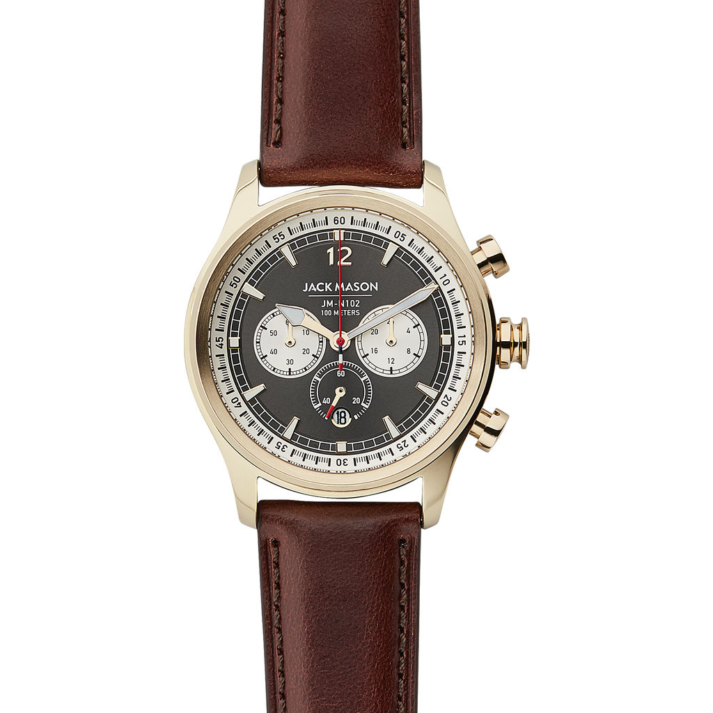 Jack Mason Gray Nautical Chronograph Gold Watch | Brown Leather JM-N102-338