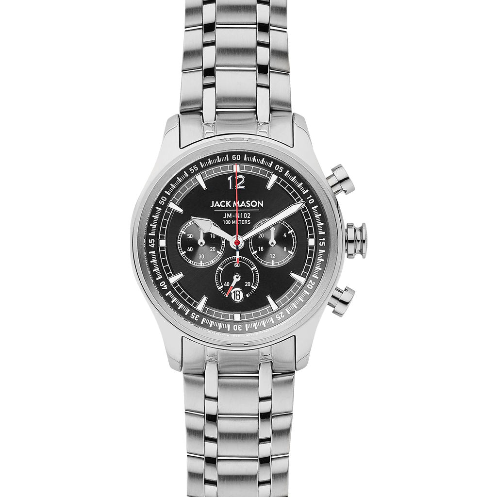 Jack Mason Black Nautical Chronograph Stainless Steel Watch | Steel JM-N102-340