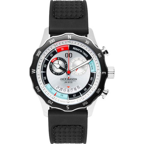 Jack Mason White Regatta Timer Yacht Watch | Black Rubber