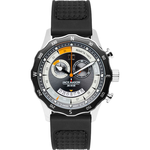 Jack Mason Gray Regatta Timer Yacht Watch | Black Rubber