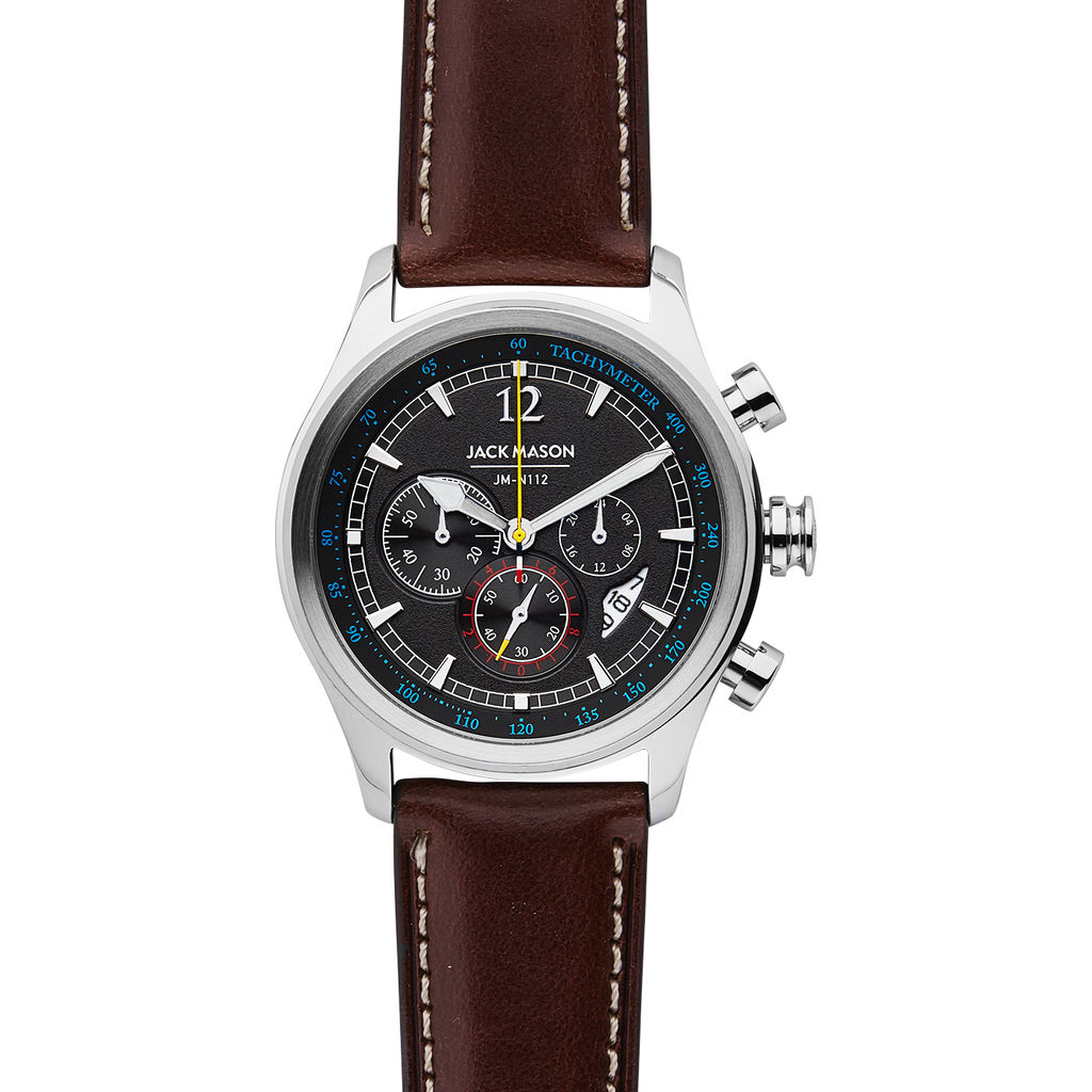 Jack Mason Black Nautical Chronograph Stainless Steel Watch | Brown Leather JM-N112-003