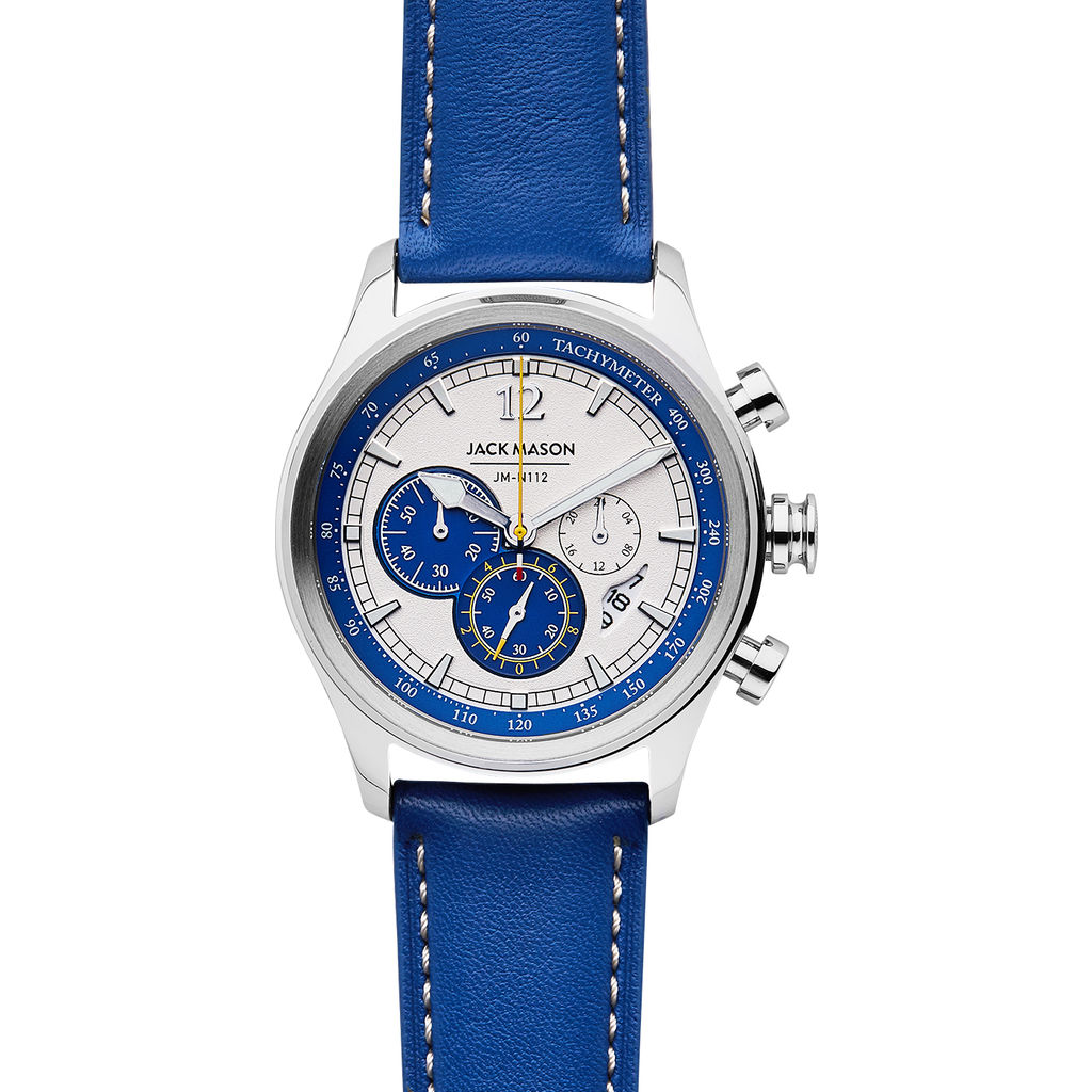 Jack Mason White Nautical Chronograph Stainless Steel Watch | Cobalt Leather JM-N112-004