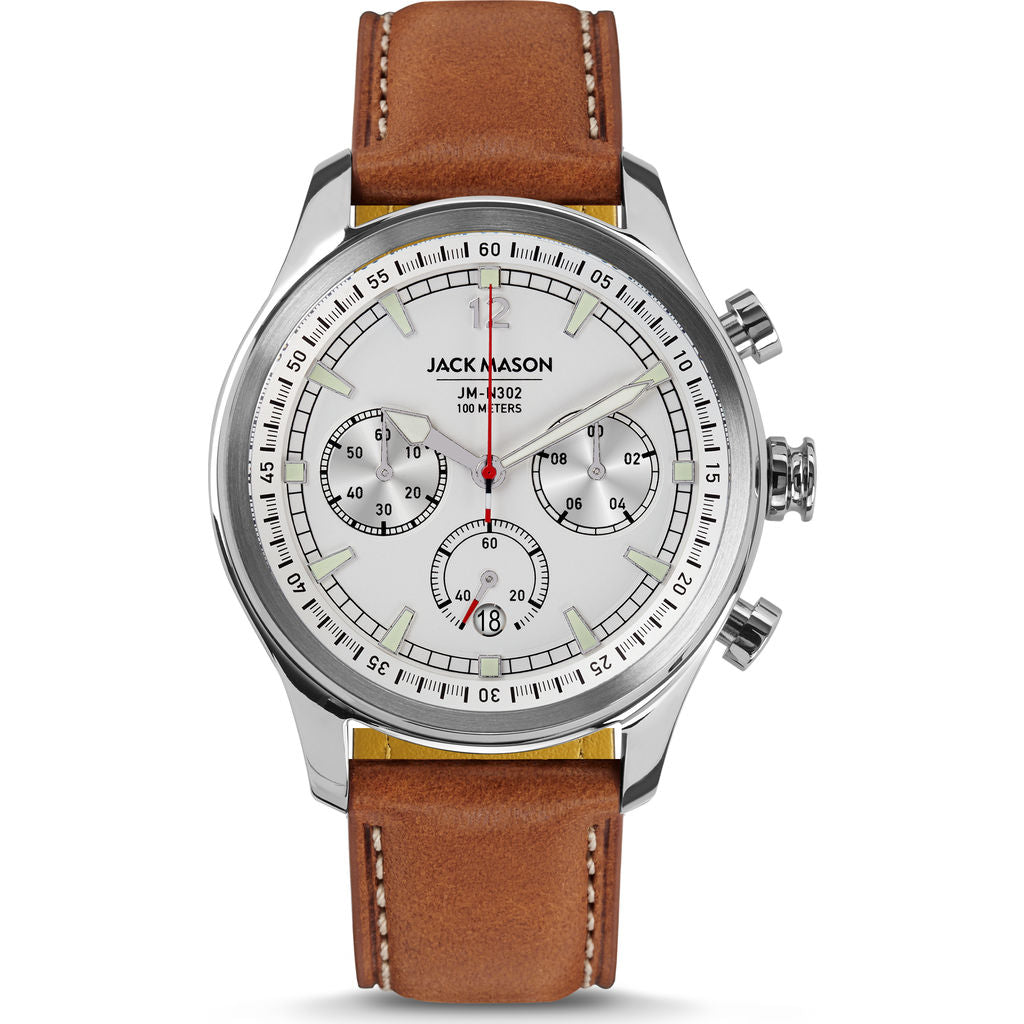 Jack Mason White Nautical Chronograph Stainless Steel Watch | Tan Leather JM-N302-101