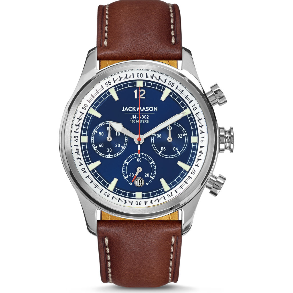 Jack Mason Navy Nautical Chronograph Stainless Steel Watch | Brown Leather JM-N302-102