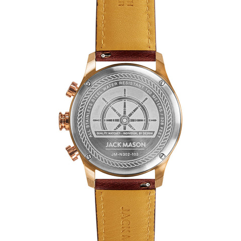 Jack Mason Gray Nautical Chronogaph Rose Gold Watch | Brown Leather JM-N302-103