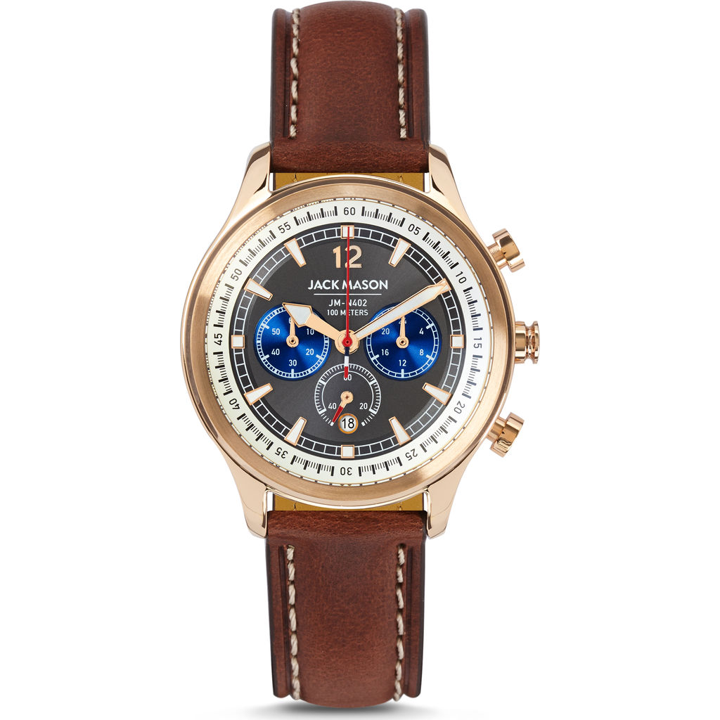 Jack Mason Gray Nautical Chronograph Rose Gold Watch | Brown Leather JM-N402-003