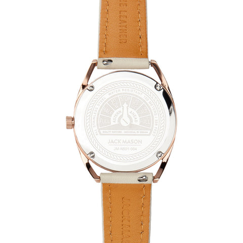 Jack Mason Mauve Slim Rose Gold 3-Hand Watch 36mm | Lamb Leather JM-N501-004