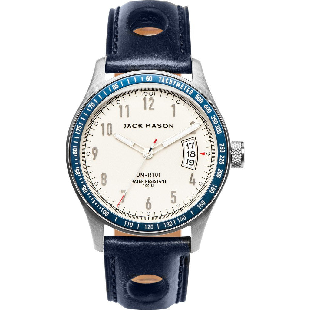 Jack Mason Racing JM-R101-002 3-Hand Watch | Navy Leather JM-R101-002